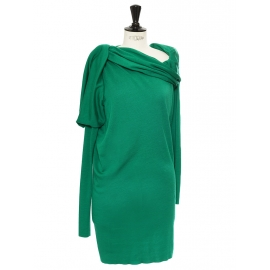Mint green asymmetric draped knit wool dress Retail price €1300 Size M