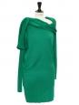 Robe asymétrique drapée en laine vert menthe Prix boutique 1300€ Taille 38