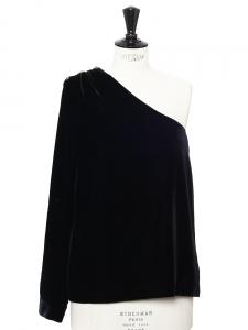 Top asymétrique en velours noir et boutons cuivrés Px boutique 850€ Taille 34