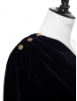 Black velvet one-shoulder top with copper gold buttons Retail price €850 Size 34