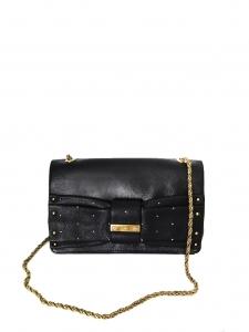 Sac clutch JUNE en cuir noir, noeud et studs argent Px boutique 550€