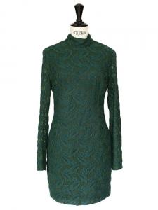 Robe HARLEM DUCHESS en dentelle verte brodée Prix boutique 435€ Taille XS