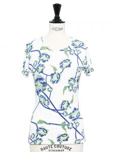 T-shirt manches courtes imprimé fleuri bleu, vert et blanc Taille S