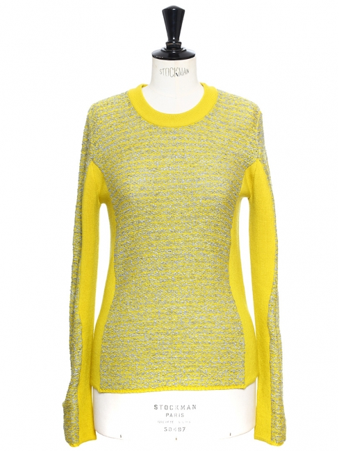 Yellow and light grey knitted round neck sweater Retail price €480 Size S/M