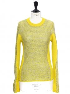 Pull en laine jaune anis et gris clair NEUF Prix boutique 480€ Taille 38