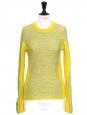 Pull en laine jaune anis et gris clair NEUF Prix boutique 480€ Taille 36/38
