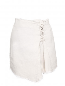 White cotton tweed lace up skirt Size M