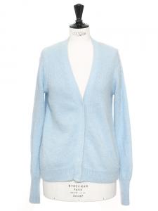 Gilet LESLEY cardigan col V en angora bleu ciel Prix boutique 269€ Taille 36/38