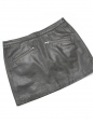 Dark grey leather zipped mini skirt Size 38