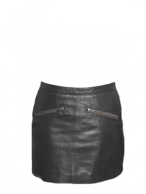 Dark grey leather zipped mini skirt Retail price €300 Size 38