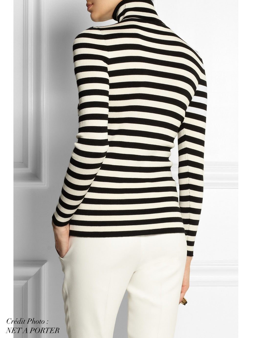 ... Pull col roulé en laine, soie et cachemire rayé noir et blanc Prix  boutique 695 ... 7e8396c3d3db