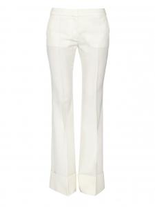 Ivory white wool crepe JOSH flared pants Retail price €550 Size XS