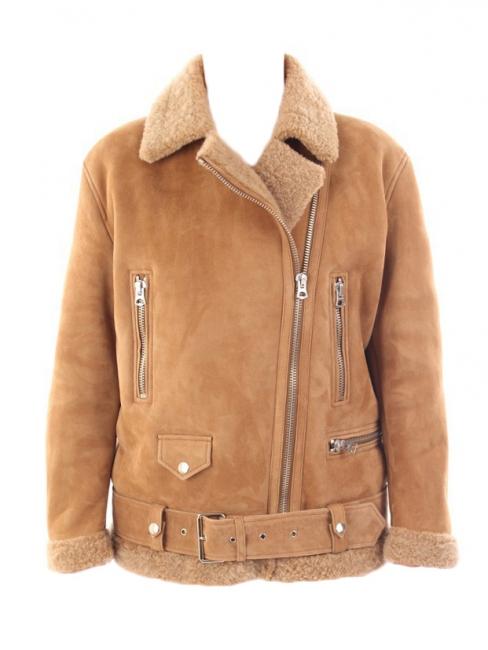 bd9ea10f822e1 Veste biker shearling jacket MERLYN (new VELOCITE) marron camel NEUVE Prix  boutique 2000€