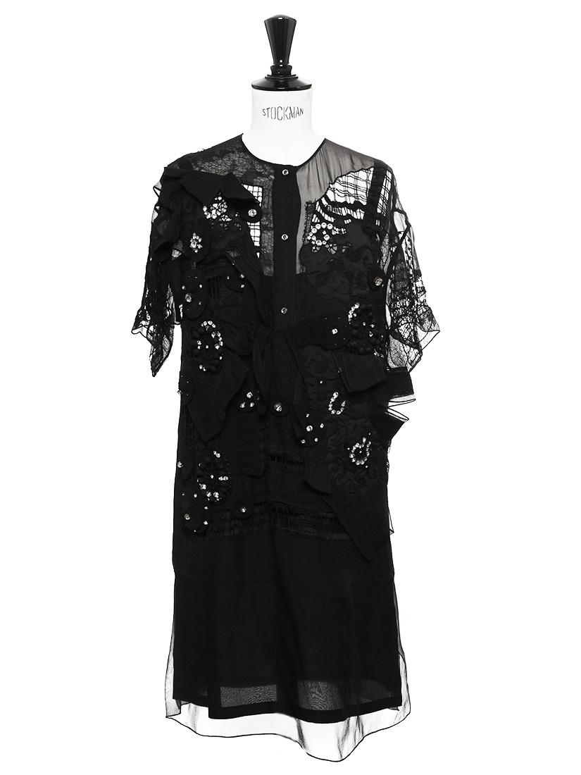 louise paris chloe robe en mousseline de soie noire crochet et strass prix boutique 5000. Black Bedroom Furniture Sets. Home Design Ideas
