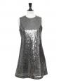 Robe de Cocktail brodée de sequins gris métallisé Prix boutique 1800€ Taille 36
