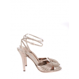 Sandales à talon et bride cheville en cuir bronze clair Prix boutique 500€ Taille 39