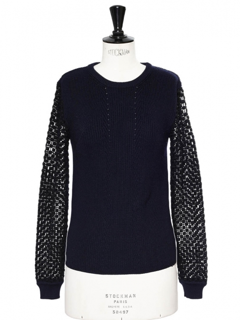 Midnight blue merino wool sweater with eyelet crochet lace sleeves Retail price €850 Size S