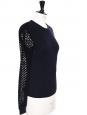 Pull en laine mérinos bleu nuit et manches dentelle crochet Prix boutique 850€ Taille S
