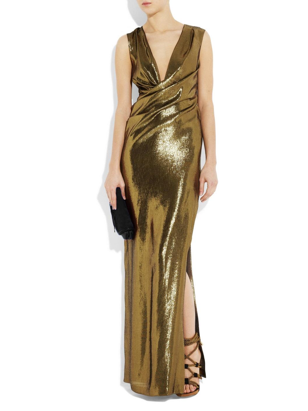 Louise Paris Diane Von Furstenberg Gold Silk Lam 233