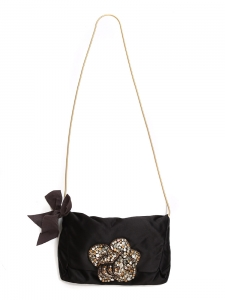 Rhinestones embellished black silk satin evening bag with gold chain Retail price €1500