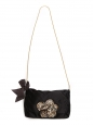 Swarovski crystals embellished black silk satin evening bag with gold chain Retail price €1500
