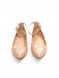 Chaussures plates GIA à bouts pointus en cuir verni beige rosé Prix boutique 420€ Taille 37,5