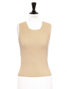 Camel beige luxury cashmere sleeveless tank top Retail price €800 Size S