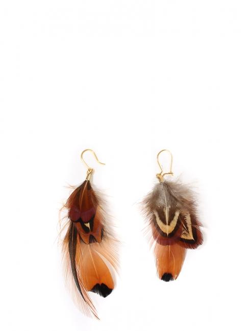 Boucles d'oreilles en plumes de faisan et coq gaulois roux, noir et noisette NEUVES