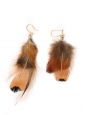 Nut brown, black and iridescent dark blue feathers pierced earrings NEW