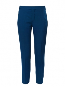 Sapphire blue crepe de chine slim fit pants NEW Retail price €480 Size 38