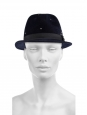 SEAN Midnight blue studded felt fedora hat Retail price €565 Size L