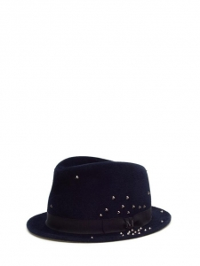 SEAN Midnight blue studded felt fedora hat Retail price €565 Size L