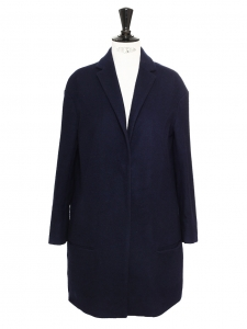 Navy blue virgin wool and cashmere coat Retail price €950 Size XS