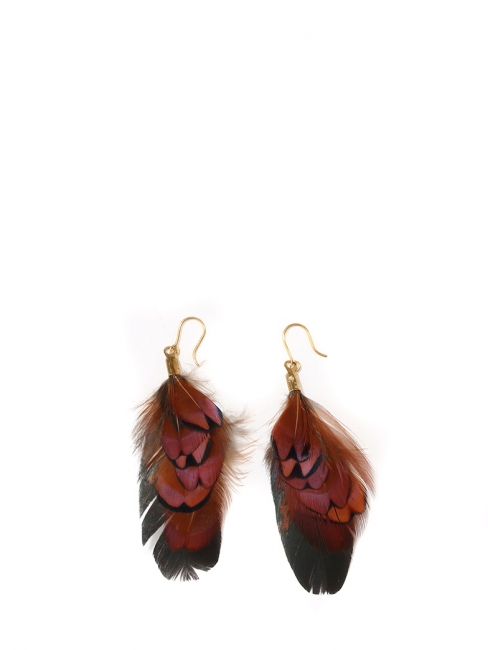 Nut brown, black and iridescent dark green pheasant and cockerel feathers pierced earrings NEW