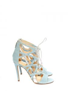 Sandales stilettos BOOMERANG en cuir denim bleu ciel NEUVES Prix boutique 1180€ Taille 37