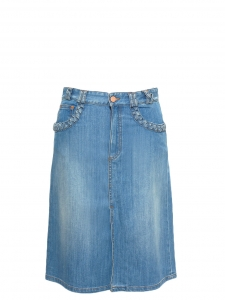 Blue denim braided-pocket A-line skirt NEW Retail price €250 Size 36
