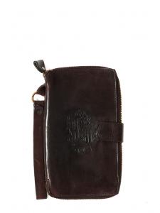 Portefeuille zippé rectangulaire en cuir marron foncé