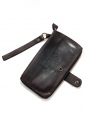 Dark brown leather continental wallet