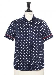 x RAPHAELLA RIBOUD Chemise manches courtes col claudine en coton imprimé bleu et blanc Taille 36