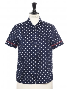 x RAPHAELLA RIBOUD Navy blue with white polka dots cotton Peter Pan collar shirt Size 36