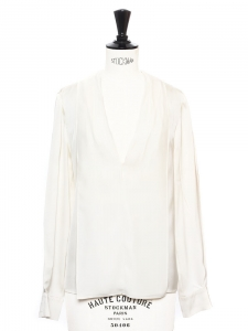 Ecru white silk V neck long sleeves shirt blouse Retail price €500 Size XS