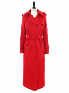 Cherry red virgin wool and cashmere trench coat Retail price €1600 size 38