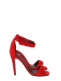 Sandales à talon et bride cheville en suède rouge NEUVES Prix boutique 610€ Taille 37