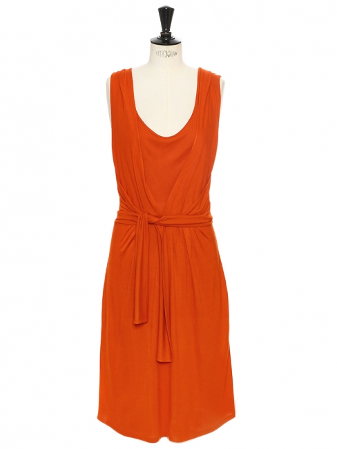 Orange tangerine silk jersey sleeveless dress Retail price €520 Size 36/38