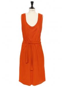 Robe sans manches en jersey de soie orange Prix boutique 520€ Taille 36/38