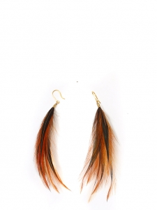 Nut brown, black and iridescent dark green long feathers pierced earrings NEW