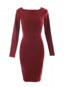 Burgundy stretch crepe long sleeved dress Retail price €650 Size XS
