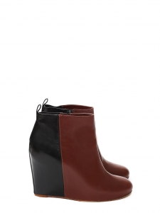 Black and burgundy red leather wedge ankle boots Retail price €950 Size 40