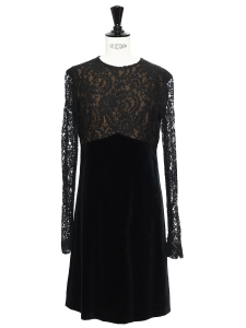 Black velvet and lace long sleeved dress Size 36/38
