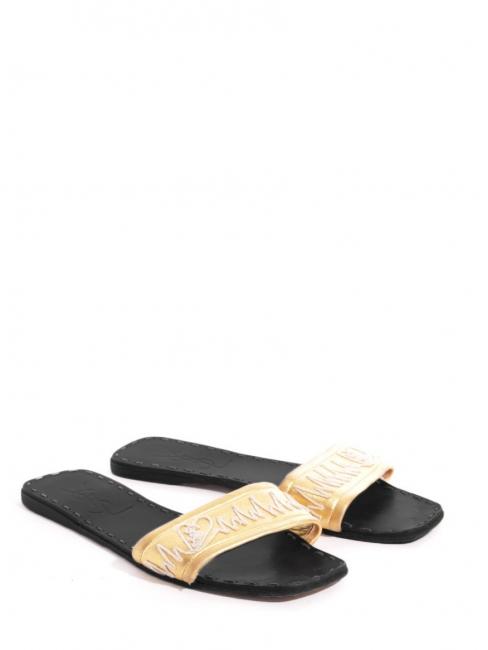 77d7e4fbf0f Louise Paris - YVES SAINT LAURENT Gold leather flat mules sandals ...